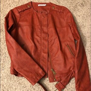 NEW Red Rust leather-like jacket with belt/buckle